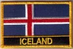 Iceland Embroidered Flag Patch, style 09.